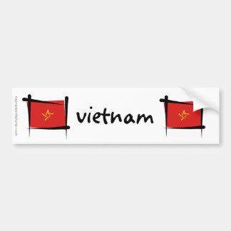 Vietnam Brush Flag Bumper Sticker