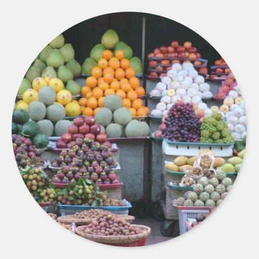Vietnam Market Round Stickers