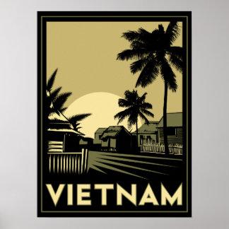 vietnam southeast asia art deco retro travel poster