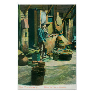 View of a Man Smoking Out of his Pipe Poster