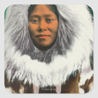 View of an Eskimo Beauty Square Sticker