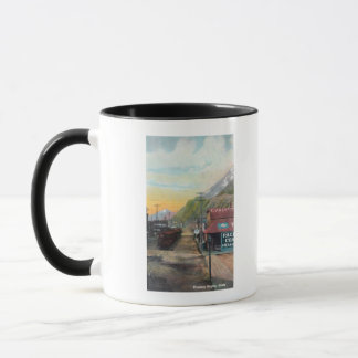 View of Broadway & Railroad CarsSkagway, AK Mug
