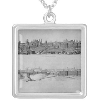 View of Carcassonne from the west side Silver Plated Necklace