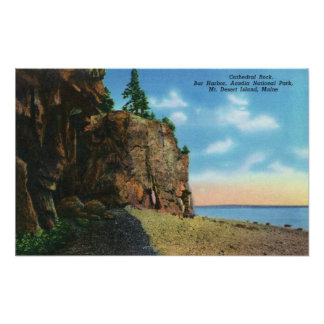View of Cathedral Rock, Bar Harbor Poster