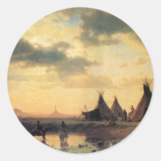 View of Chimney Rock by Albert Bierstadt Classic Round Sticker