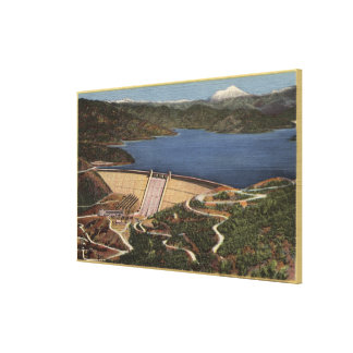 View of Dam, Lake, & Mt. Shasta in Distance Canvas Print
