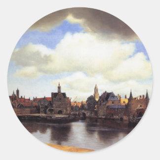 View of Delft Classic Round Sticker