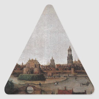 View of Delft from the Southwest by Hendrick Triangle Sticker