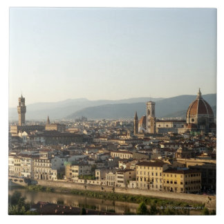 view of florence with Arno River, Duomo, Ponte Tile