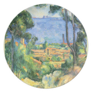 View of L'Estaque and the... by Paul Cezanne Plate
