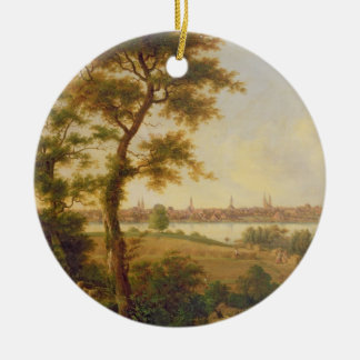 View of Lubeck, 1869 (oil on canvas) Christmas Ornament