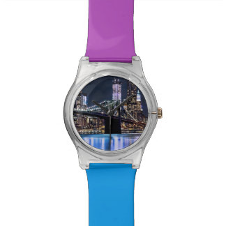 View of New York's Brooklyn bridge reflection Watch