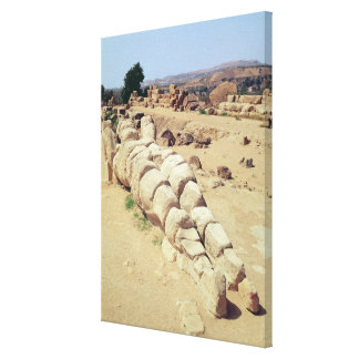 View of one of the giant Telemon statues Canvas Print