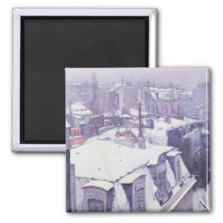 View of Roofs  or Roofs under Snow, 1878 Square Magnet