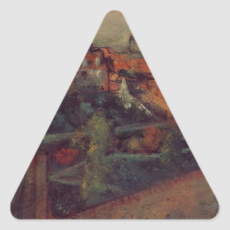 View of Saint-Valery-sur-Somme by Edgar Degas Triangle Sticker