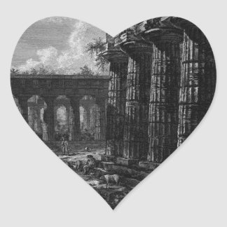 View of some columns of the facade opposite to heart sticker