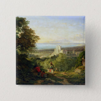 View of Terracina and Monte Circeo, 1833 15 Cm Square Badge