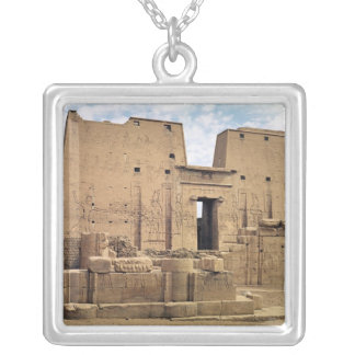 View of the first pylon of the Temple of Horus Silver Plated Necklace
