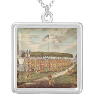 View of the Great Treaty Held at Prairie du Silver Plated Necklace