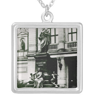 View of the Mendelssohn statue Silver Plated Necklace