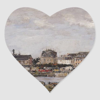 View of the Port, Trouville by Eugene Boudin Heart Sticker