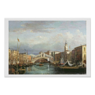View of the Rialto Bridge in Venice Poster