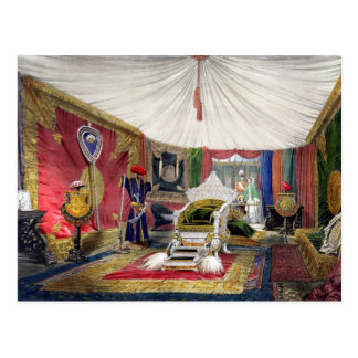 View of the tented room and ivory carved throne, i postcard