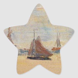View of the Voorzaan by Claude Monet Star Sticker