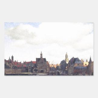 View on Delft by Johannes Vermeer Rectangular Sticker