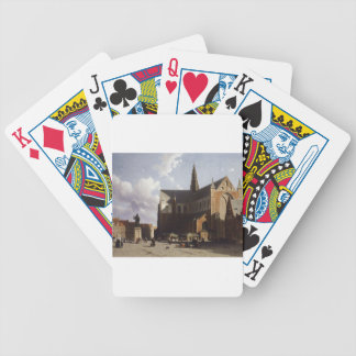 View on the market of Haarlem Sun by Johan Hendrik Playing Cards
