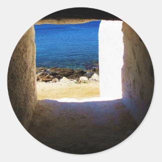 View to the Sea - Mykonos, Greece Classic Round Sticker