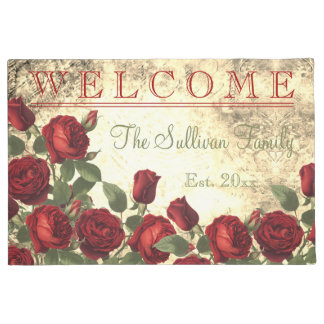 Viintage Red Roses WELCOME Monogram Family Doormat