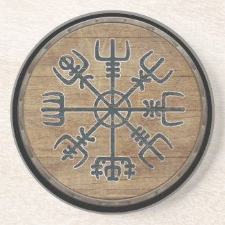 Viking Shield  - Vegvísir Beverage Coaster
