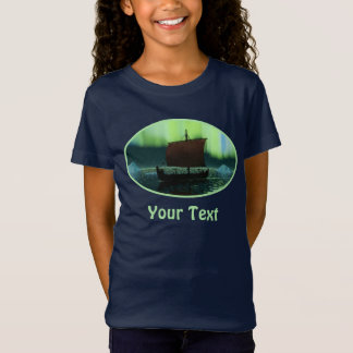 Viking Ship And Northern Lights T-Shirt