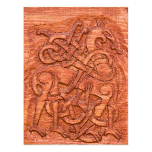Viking wood carving post card