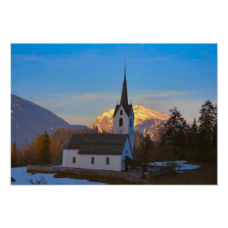 Village church in the mountains poster