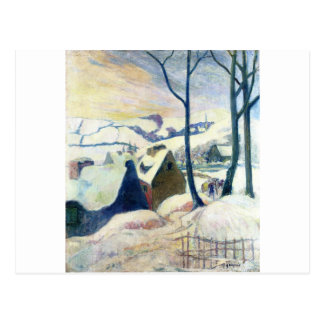 Village in the snow by Paul Gauguin Postcard