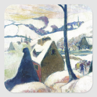 Village in the snow by Paul Gauguin Square Sticker