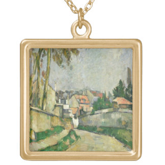 Village Road, 1879-82 (oil on canvas) Gold Plated Necklace