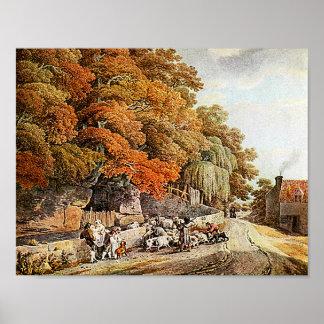 Village Scene Watercolor Painting Fine Art Print!