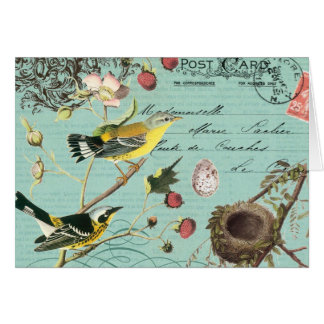 Vinage French Birds notecard