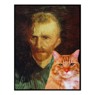 Vincent van Gogh and his red tabby cat Poster