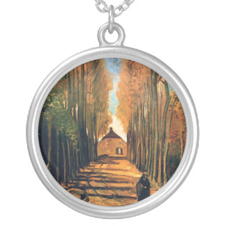 Vincent Van Gogh - Avenue Of Poplars In Autumn Silver Plated Necklace