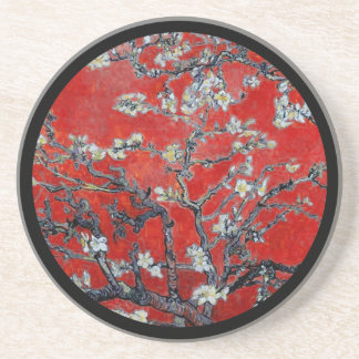 Vincent van Gogh Branches with Almond Blossom Red Beverage Coaster