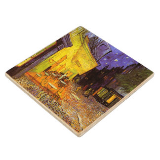 Vincent Van Gogh Cafe Terrace At Night Fine Art Maple Wood Coaster
