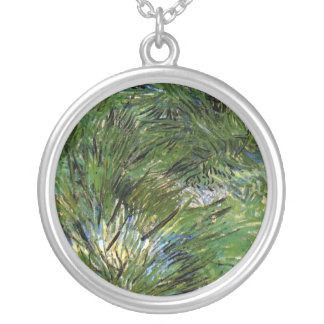 Vincent Van Gogh - Clumps Of Grass Fine Art Silver Plated Necklace