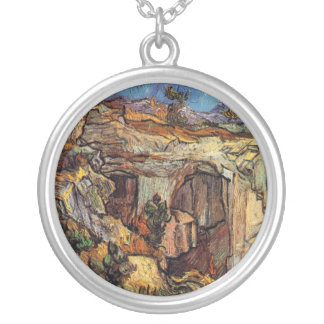 Vincent Van Gogh - Entrance To A Quarry Fine Art Silver Plated Necklace