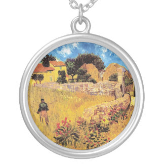 Vincent Van Gogh - Farmhouse In Provence Fine Art Silver Plated Necklace