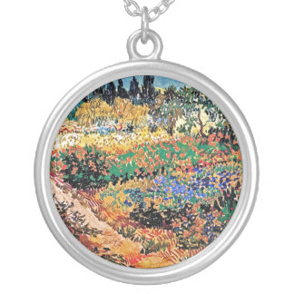 Vincent Van Gogh - Flowering Garden With Path Silver Plated Necklace
