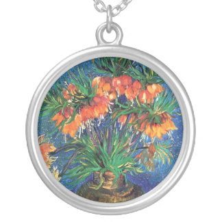 Vincent Van Gogh - Fritillaries In A Copper Vase Silver Plated Necklace